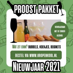 Ons Proostpakket is ideaal voor de nieuwjaarsborrel maar dan voor thuiswerkers!